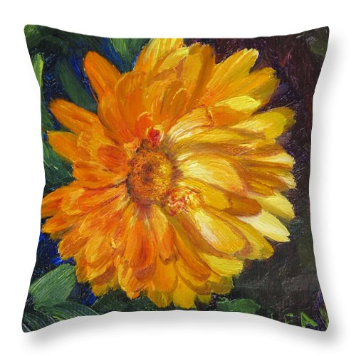 Flower Painting Throw Pillow featuring the painting Even The Flowers In Autumn Are Golden by Lea Novak