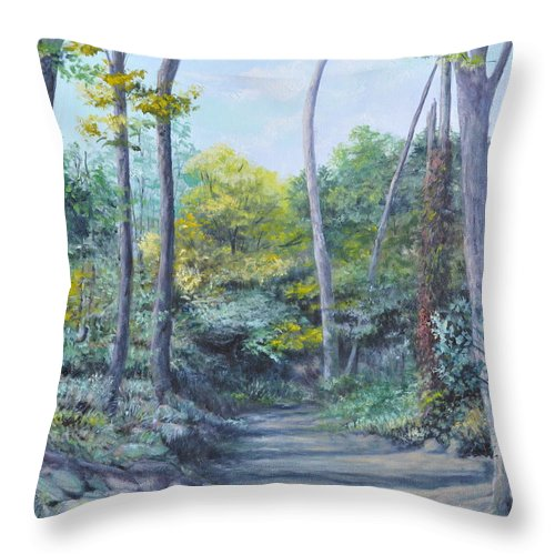 Oil Painting Throw Pillow featuring the painting Even The Trees Praise by Penny Neimiller