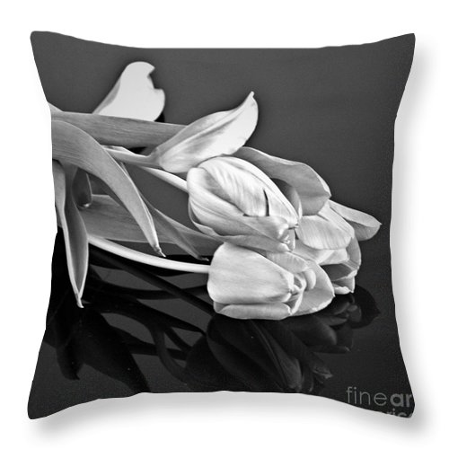 Tulips Throw Pillow featuring the photograph Even Tulips Are Beautiful In Black And White by Sherry Hallemeier