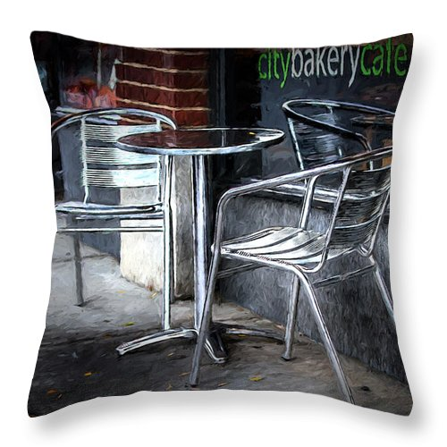 Cafe Throw Pillow featuring the digital art Evening At A Sidewalk Cafe by John Haldane