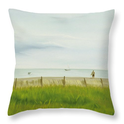 Seascape Throw Pillow featuring the painting Evening At Cape May by Lea Novak