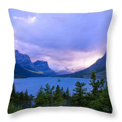 St. Mary's Lake Throw Pillow featuring the photograph Evening At St. Mary's by Idaho Scenic Images Linda Lantzy