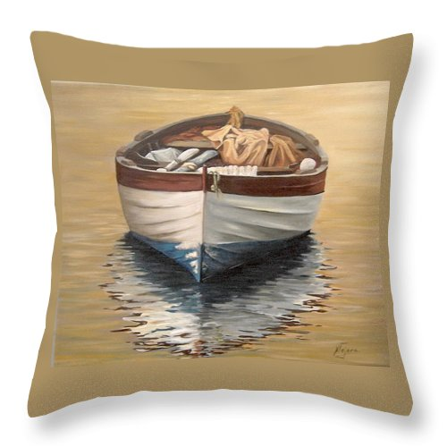 Boats Reflection Seascape Water Throw Pillow featuring the painting Evening Boat by Natalia Tejera