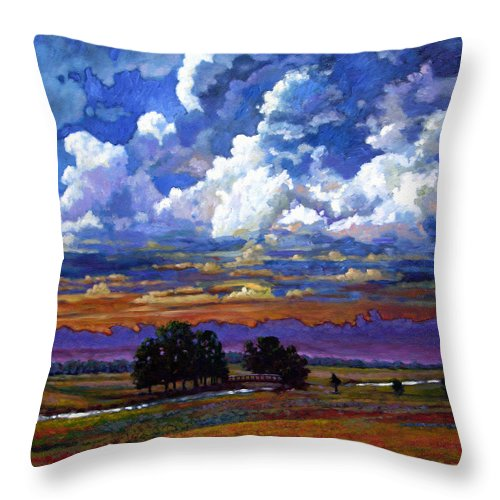 Landscape Throw Pillow featuring the painting Evening Clouds Over The Prairie by John Lautermilch