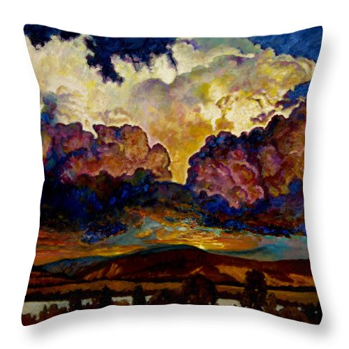 Sunset Throw Pillow featuring the painting Evening Clouds Over The Valley by John Lautermilch