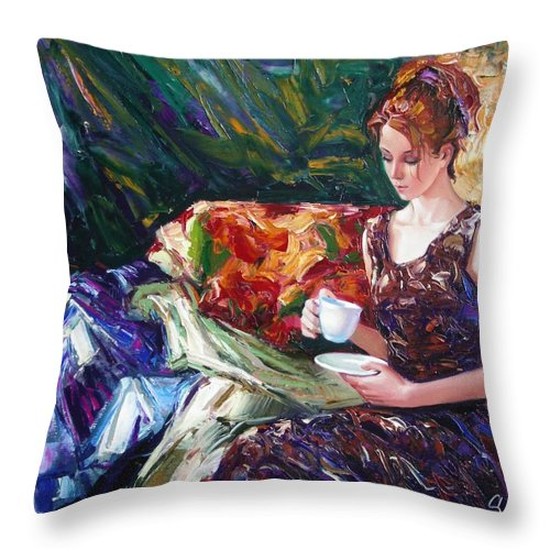 Figurative Throw Pillow featuring the painting Evening Coffee by Sergey Ignatenko