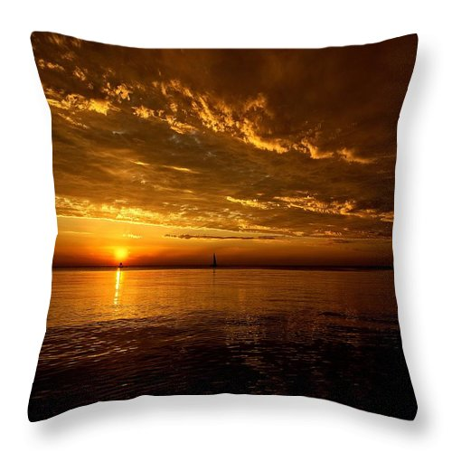 Lake Michigan Throw Pillow featuring the photograph Evening Drama by LuAnn Griffin