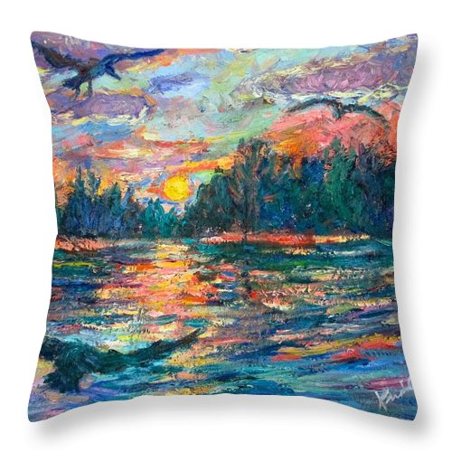Landscape Throw Pillow featuring the painting Evening Flight by Kendall Kessler