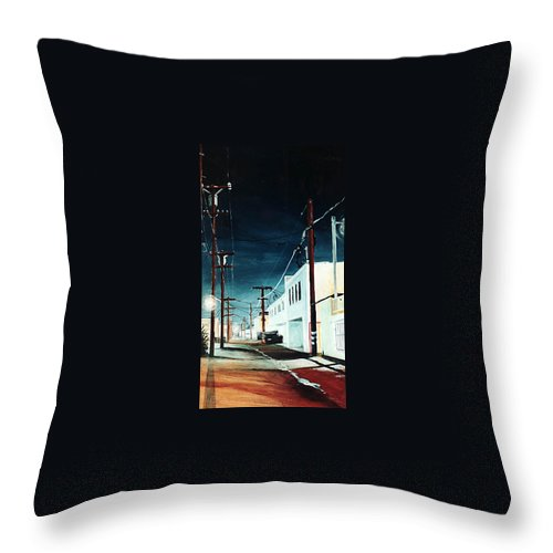 Cityscapes Throw Pillow featuring the painting Evening Glow by Duke Windsor