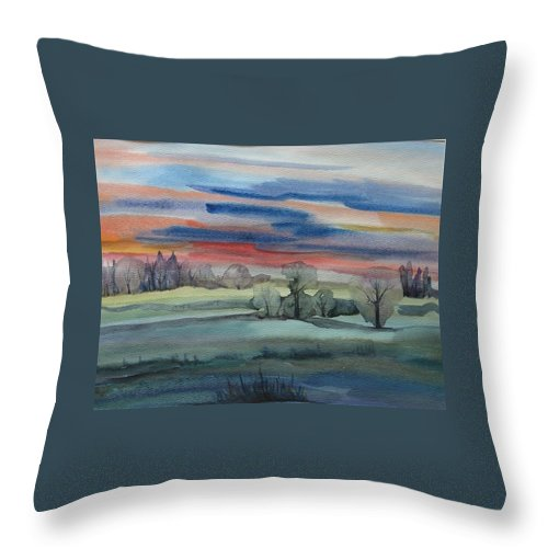 Landscape Throw Pillow featuring the painting Evening In Fishcreek Park by Anna Duyunova