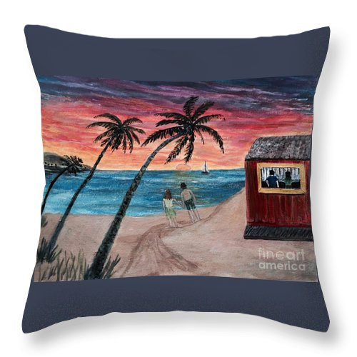 Sunset Throw Pillow featuring the painting Evening In Paradise by Anne Sands