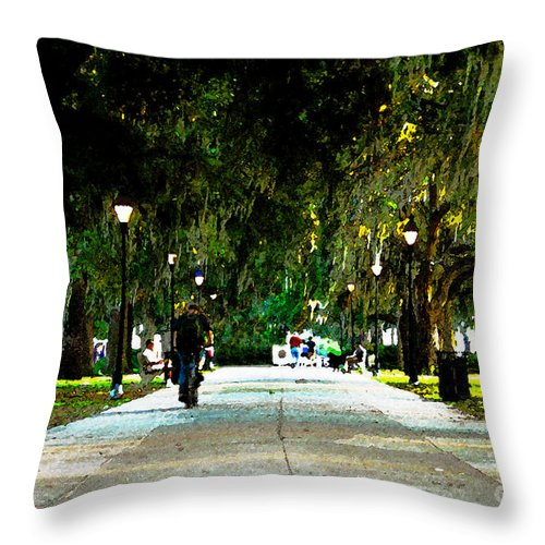 Savannah Georgia Throw Pillow featuring the painting Evening In The Park by David Lee Thompson