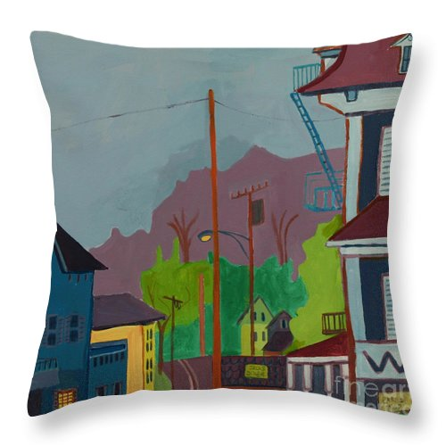 Town Throw Pillow featuring the painting Evening In Town Chelmsford Ma by Debra Bretton Robinson