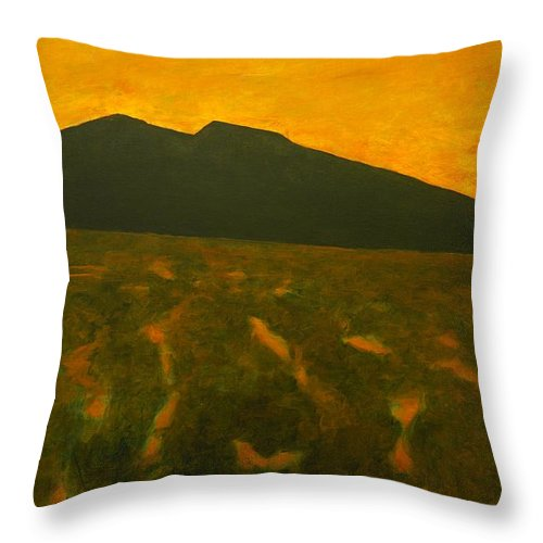 Sunset Throw Pillow featuring the painting Evening by Kerry Beverly