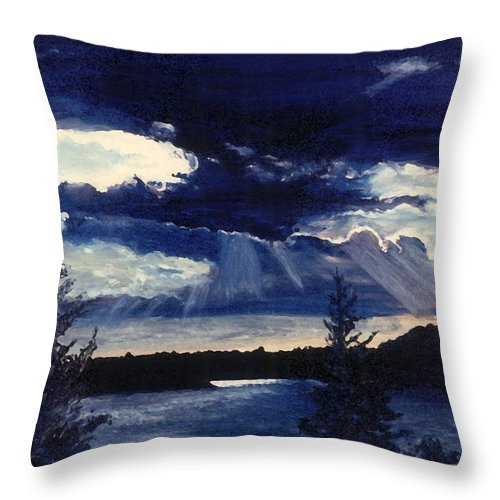 Landscape Throw Pillow featuring the painting Evening Lake by Steve Karol