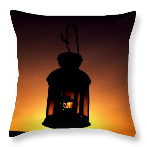 Lantern Throw Pillow featuring the photograph Evening Lantern by Tim Allen