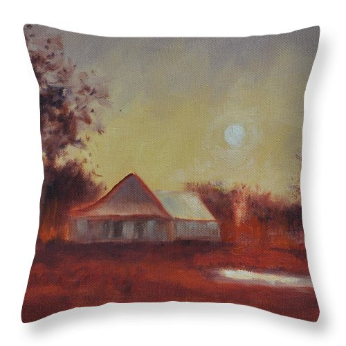 Sunsets Throw Pillow featuring the painting Evening Light by Ginger Concepcion