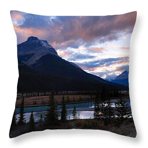 Upper Saskatchewan River Throw Pillow featuring the photograph Evening Light In The Mountains by Larry Ricker