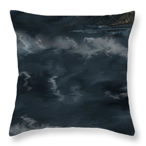 Seascape Throw Pillow featuring the painting Evening Lights And Rocks by Anne Norskog