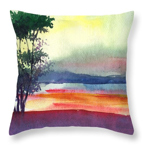 Water Color Throw Pillow featuring the painting Evening Lights by Anil Nene