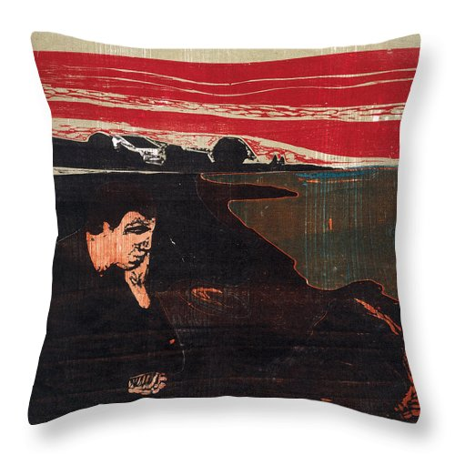 Edvard Munch Throw Pillow featuring the drawing Evening. Melancholy by Edvard Munch