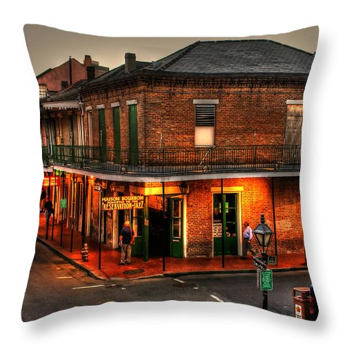 New Orleans Throw Pillow featuring the photograph Evening On Bourbon by Greg and Chrystal Mimbs