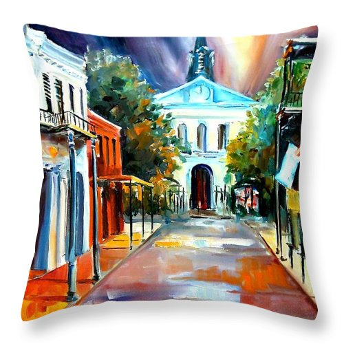 New Orleans Throw Pillow featuring the painting Evening On Orleans Street by Diane Millsap
