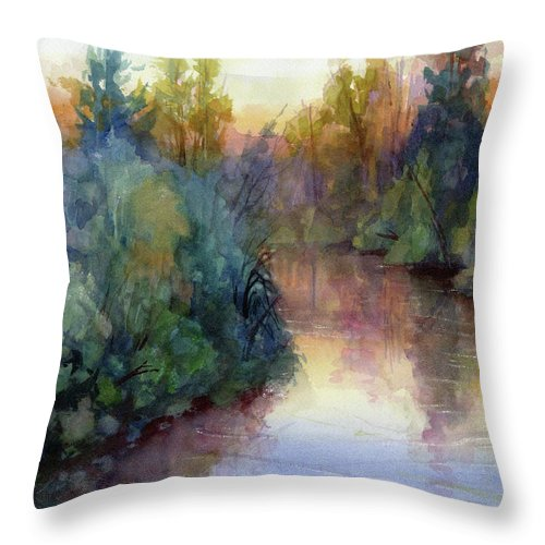 Water Throw Pillow featuring the painting Evening On The Willamette by Steve Henderson