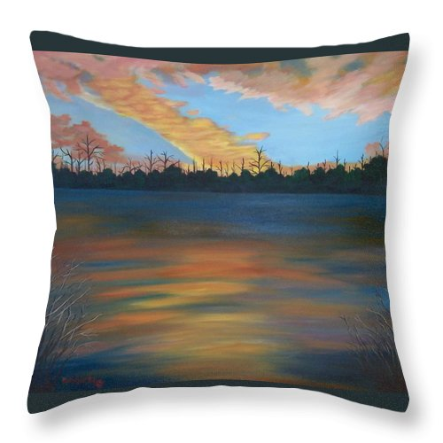 Landscape Throw Pillow featuring the painting Evening Peace by Ruth Housley