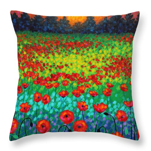 Acrylic Throw Pillow featuring the painting Evening Poppies by John Nolan