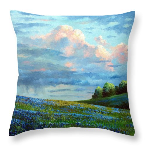 Landscape Throw Pillow featuring the painting Evening Rain by David G Paul