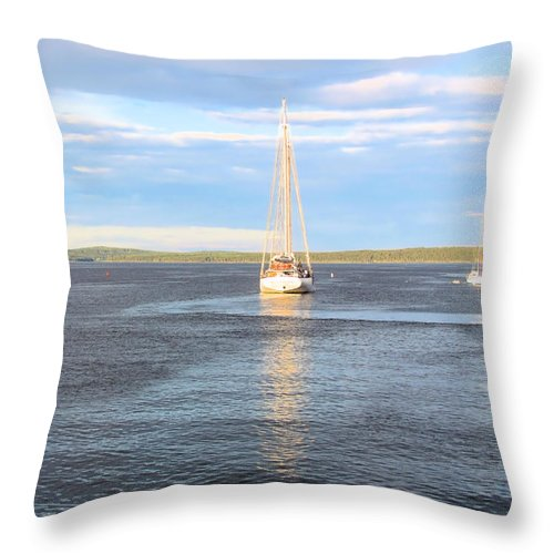Sailboat Throw Pillow featuring the photograph Evening Sail In Frenchman's Bay by Elizabeth Dow