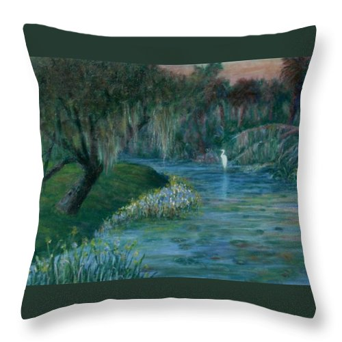 Low Country; Egrets; Lily Pads Throw Pillow featuring the painting Evening Shadows by Ben Kiger