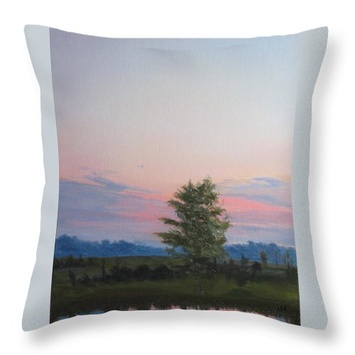 Landscape Throw Pillow featuring the painting Evening Sky by Lea Novak