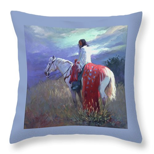 Native American Throw Pillow featuring the digital art Evening Solitude L. E. P. by Betty Jean Billups