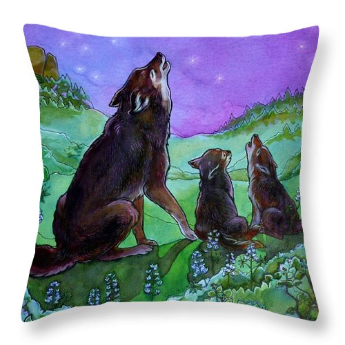 Coyote Throw Pillow featuring the painting Make A Joyful Noise by Jill Iversen