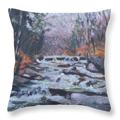 Vt Throw Pillow featuring the painting Evening Spillway by Alicia Drakiotes