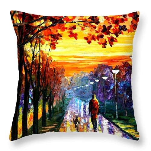 Afremov Throw Pillow featuring the painting Evening Stroll by Leonid Afremov
