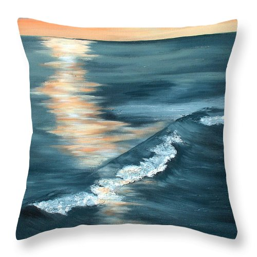 Beach Sunset Throw Pillow featuring the painting Evening Sunset by Racquel Morgan