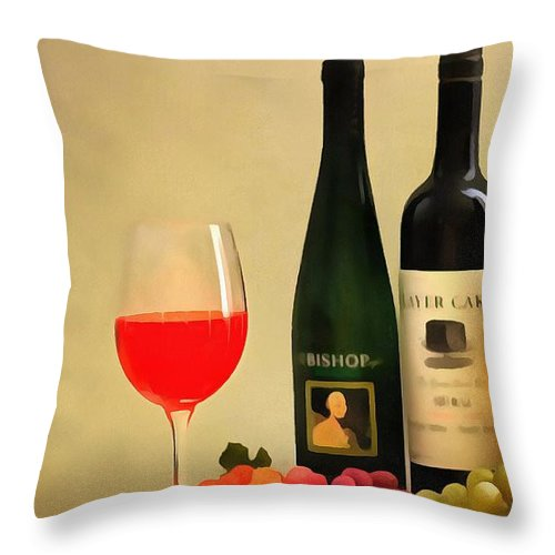 Evening Wine Display Throw Pillow featuring the digital art Evening Wine Display by Dan Sproul