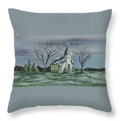 Country Church Painting Throw Pillow featuring the painting Evening Worship In Winter by Charlotte Blanchard