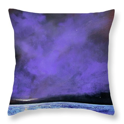 Landscape Throw Pillow featuring the painting Evenings End by Toni Grote