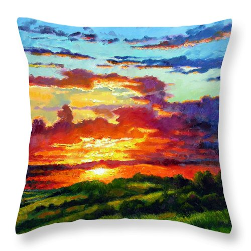 Sunset Throw Pillow featuring the painting Evenings Final Glow by John Lautermilch