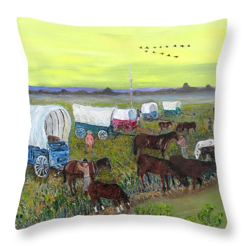 Wagon Train Throw Pillow featuring the painting Evening's Rest by Danny Lowe