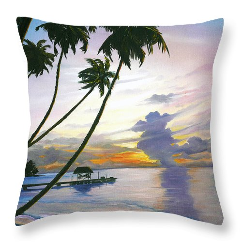 Ocean Painting Seascape Painting Beach Painting Sunset Painting Tropical Painting Tropical Painting Palm Tree Painting Tobago Painting Caribbean Painting Original Oil Of The Sun Setting Over Pigeon Point Tobago Throw Pillow featuring the painting Eventide Tobago by Karin Dawn Kelshall- Best