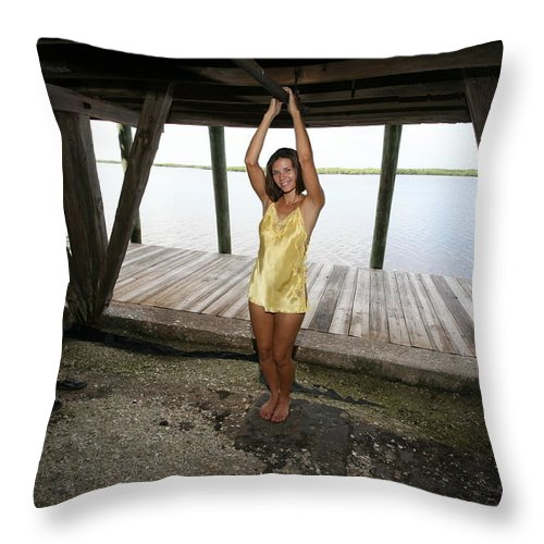 Everglades City Photographer Lucky Cole Beauty Sexy Exotic Glamorous Natural Throw Pillow featuring the photograph Everglades City Beauty 552 by Lucky Cole