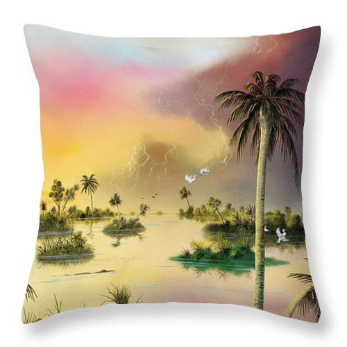 Landscape Throw Pillow featuring the painting Everglades by Don Griffiths
