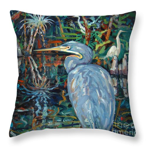Blue Herron Throw Pillow featuring the painting Everglades by Donald Maier