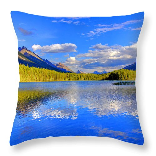 Lake Throw Pillow featuring the photograph Evergreen Lake by Scott Mahon