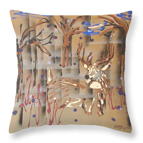 Buck In Tree Line Throw Pillow featuring the painting Everwatchful by J R Seymour